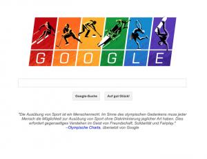 Google Doodle in Regenbogenfarben.