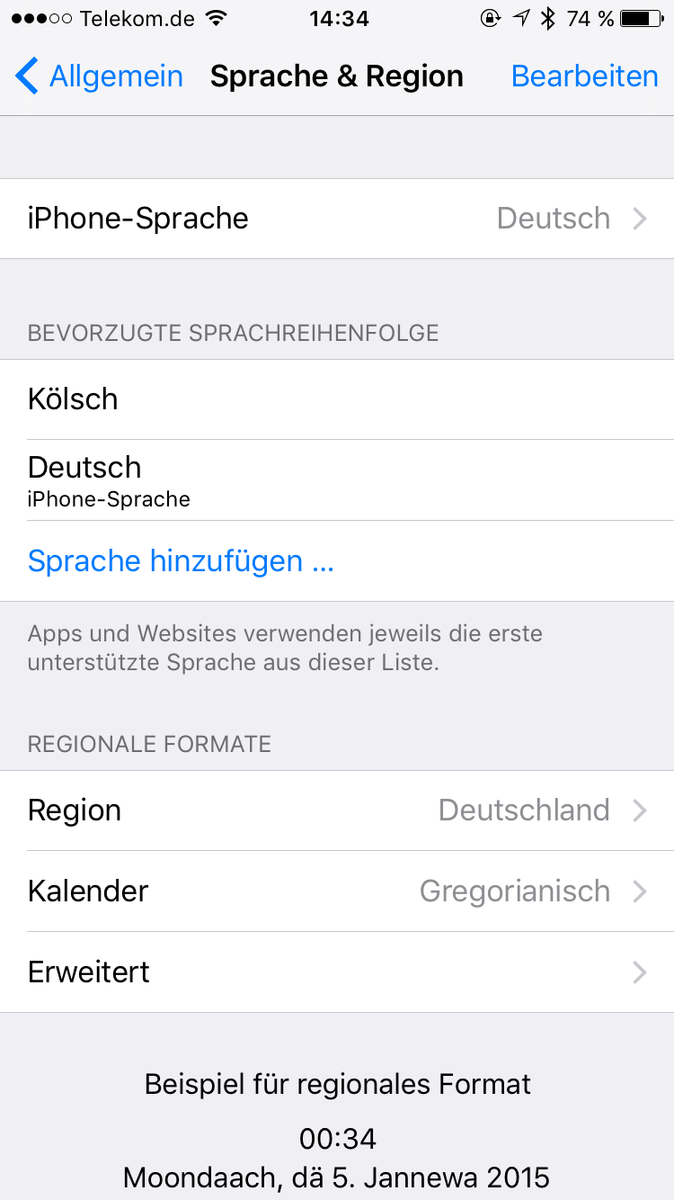 Kölsch in iOS9